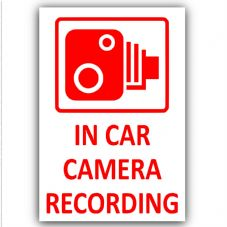 4 x In Car Camera Recording-60x87mm-Red on White-External Stickers-CCTV Sign-Van,Lorry,Truck,Taxi,Bus,Mini Cab,Minicab. Adhesive Vinyl Sign